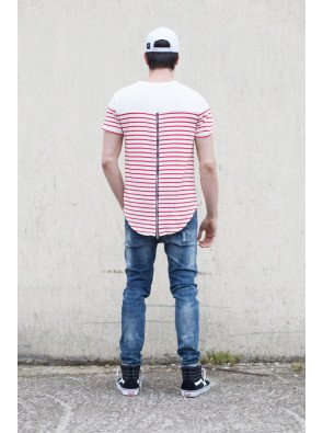 Tričko Sixth June Stripes Oversized White Red