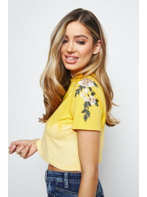 SIKSILK FLORAL EMBROIDERED CROP TEE