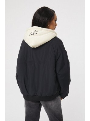 RUCHED SLEEVE BOMBER JACKET WITH HOOD