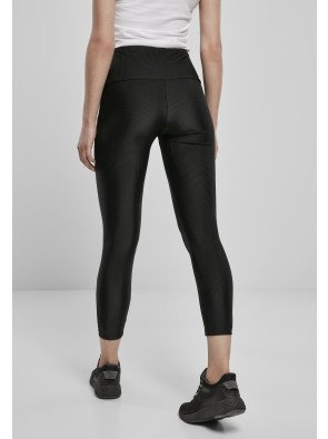 URBAN CLASSICS LADIES HIGH WAIST SHINY RIB PEDAL PUSHER LEGGINGS BLACK