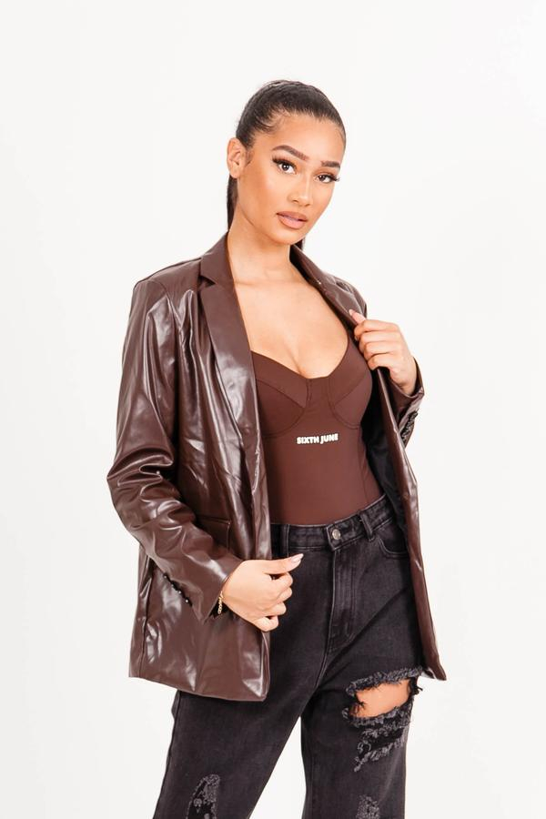 SIXTH JUNE FAUX LEATHER JAKET BROWN S