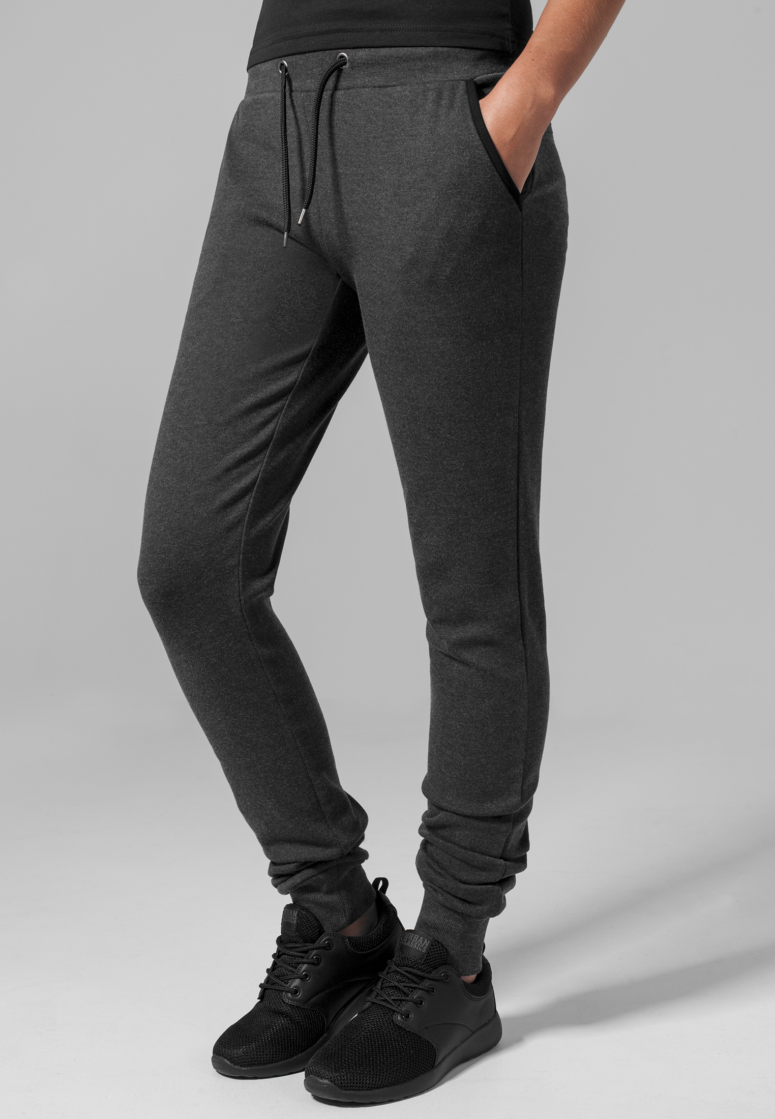 Tepláky Urban Classics Ladies Fitted Athletic Pants Charcoal L