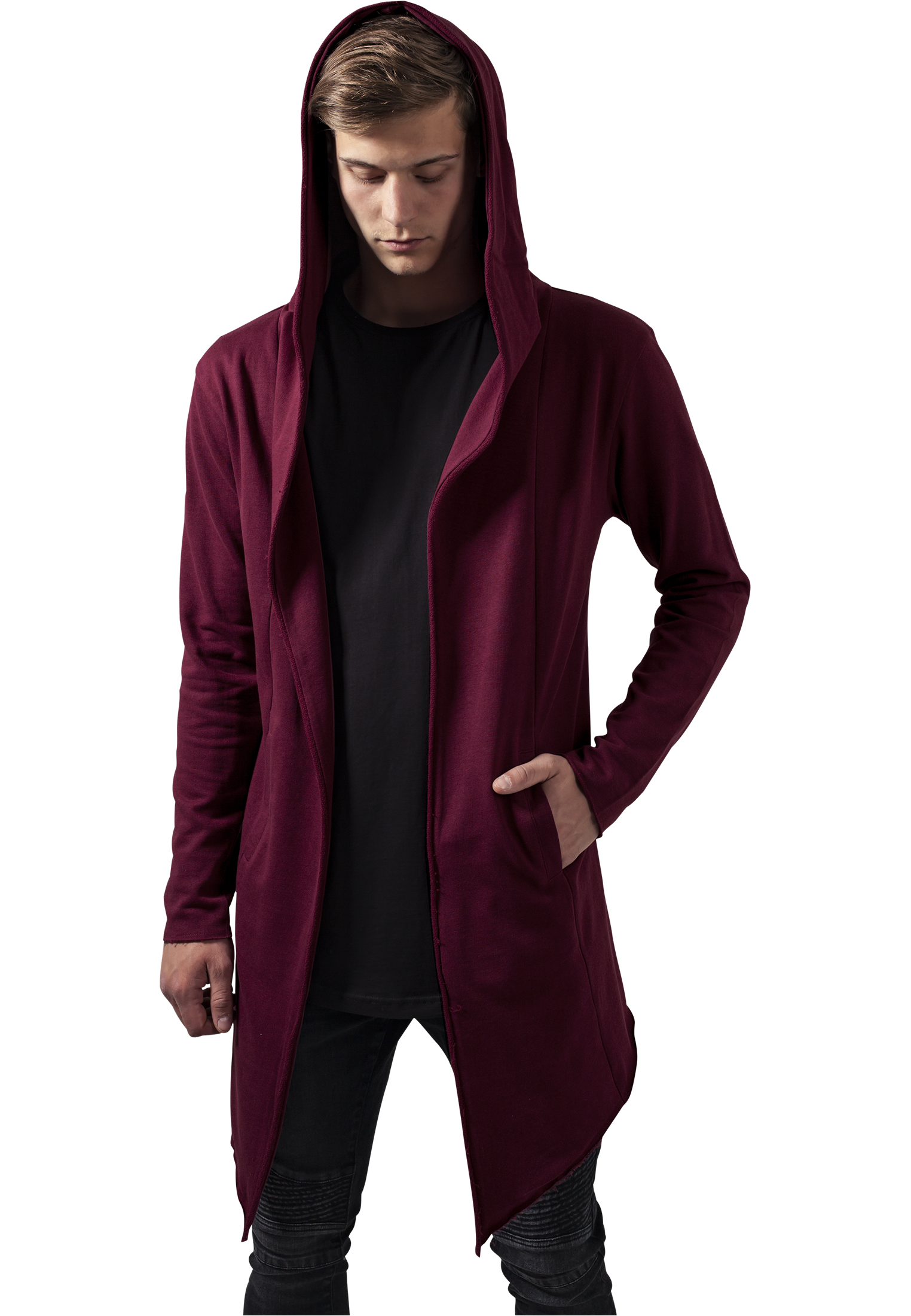 Mikina Urban Classics Long Hooded Open Edge Cardigan Burgundy 3XL