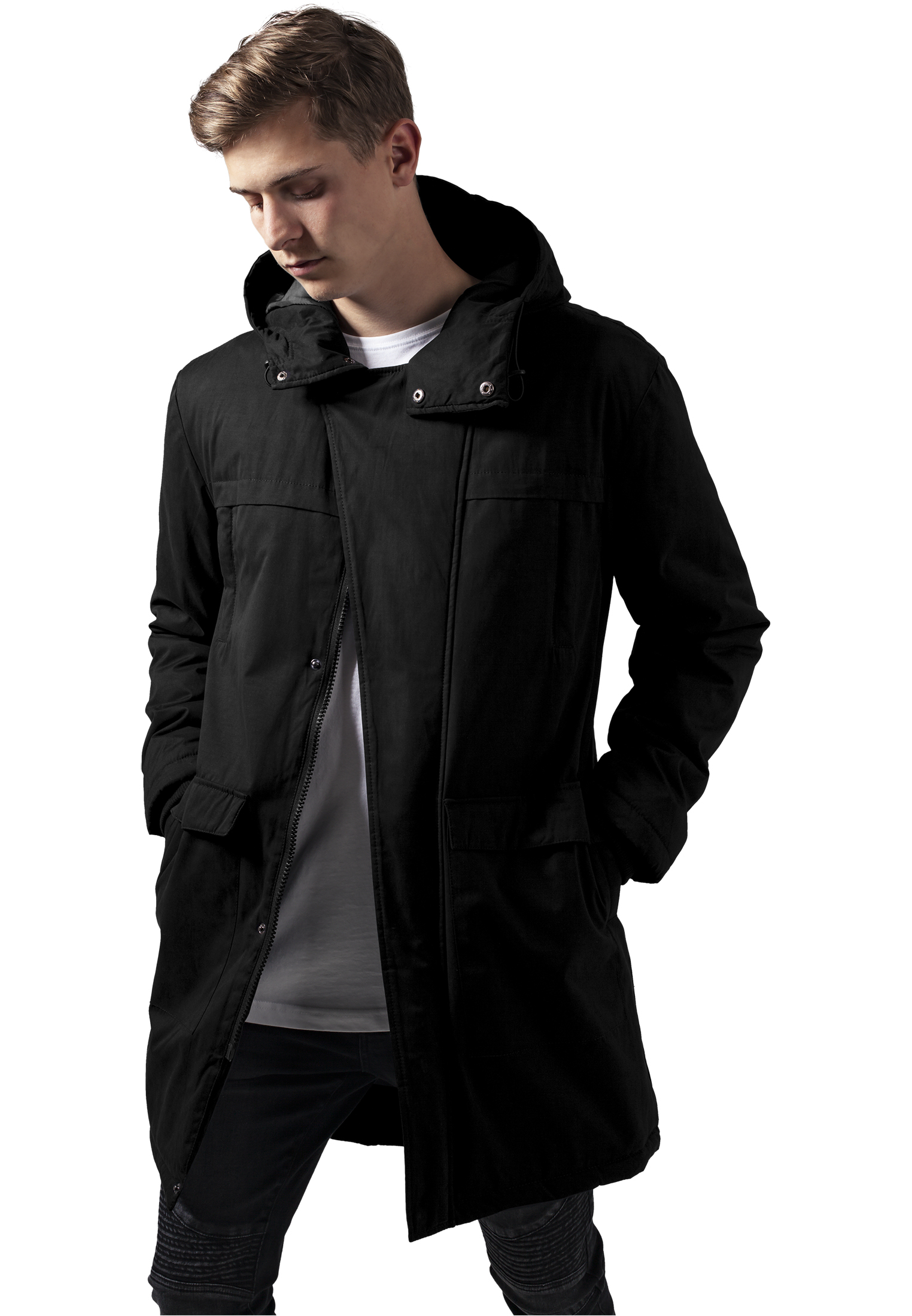 Bunda Urban Classics Cotton Peached Canvas Parka Black S
