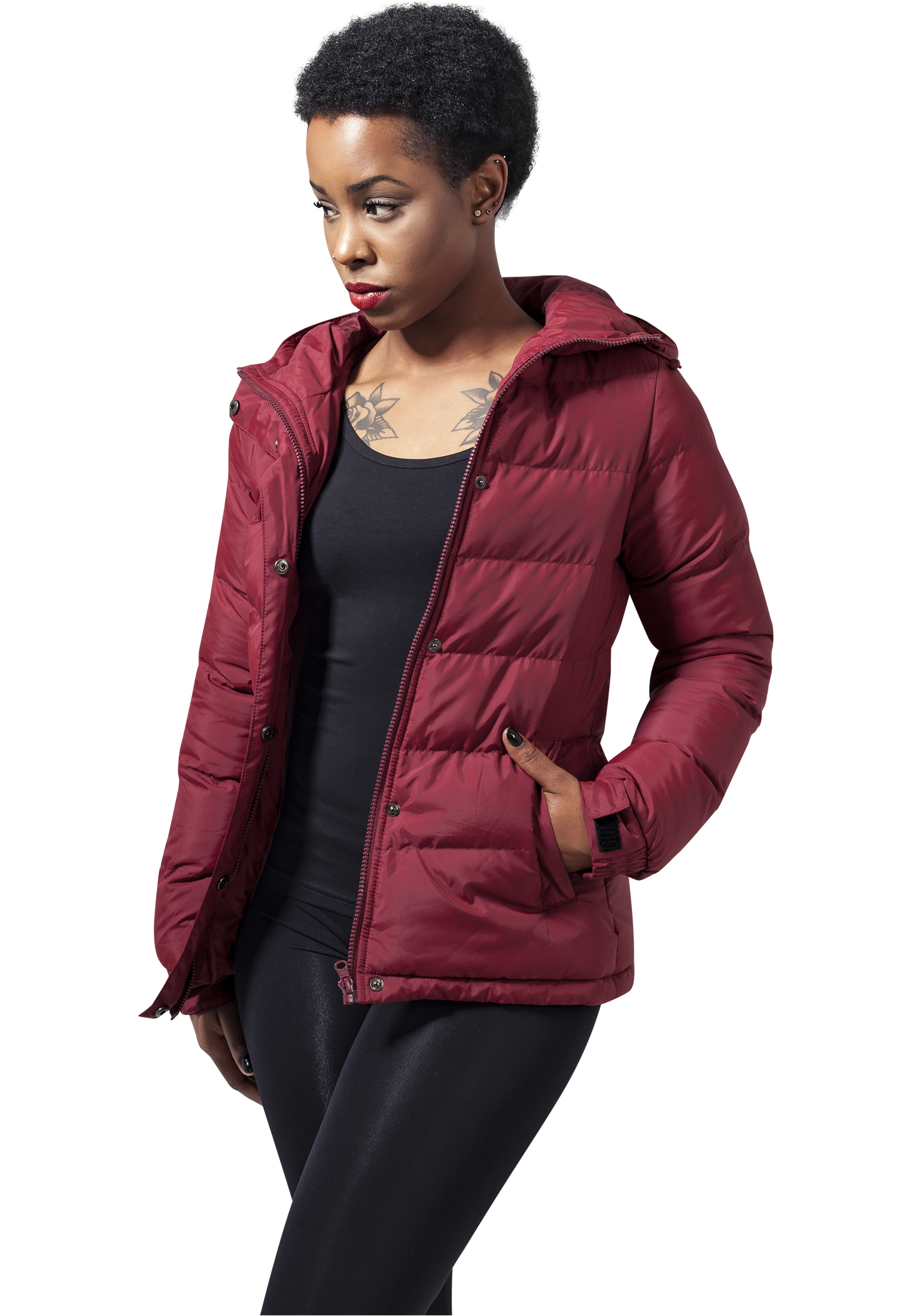 Bunda Urban Classics Ladies Bubble Burgundy M
