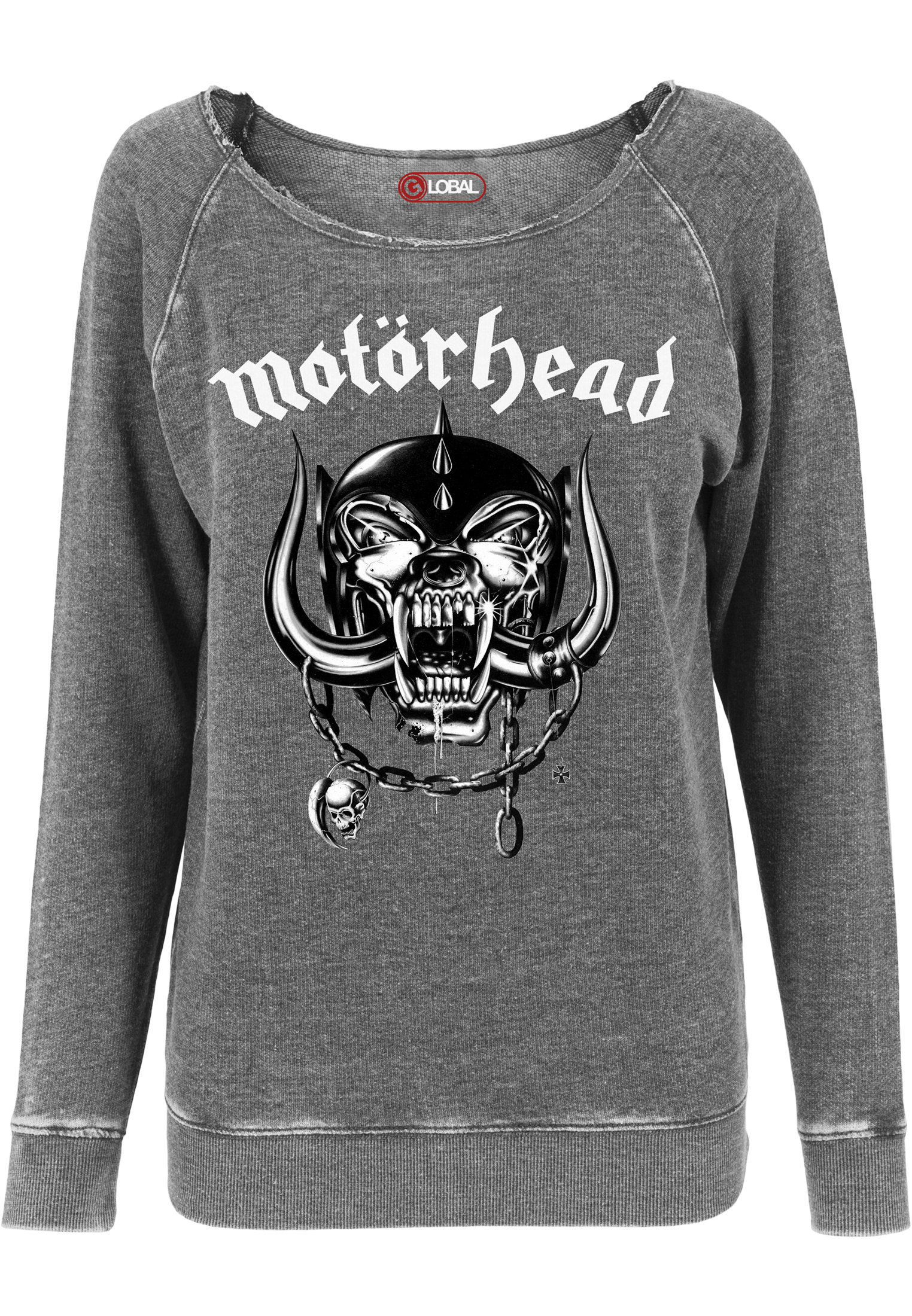 Crewneck Merchcode Motorhead Logo Burnout Open Edge Ladies Darkgrey M