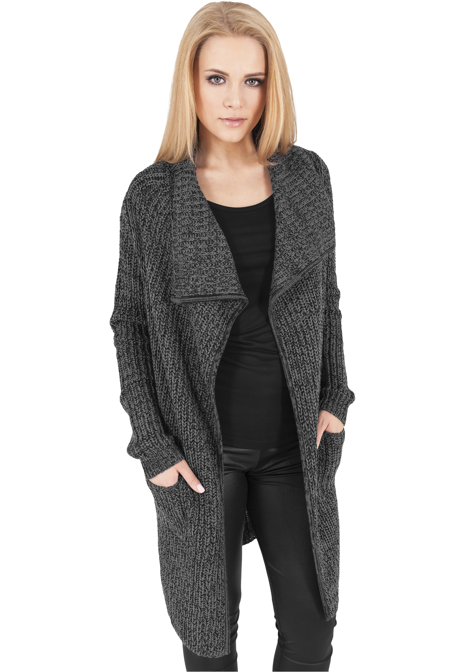 Sveter Urban Classics Ladies Knitted Charcoal L