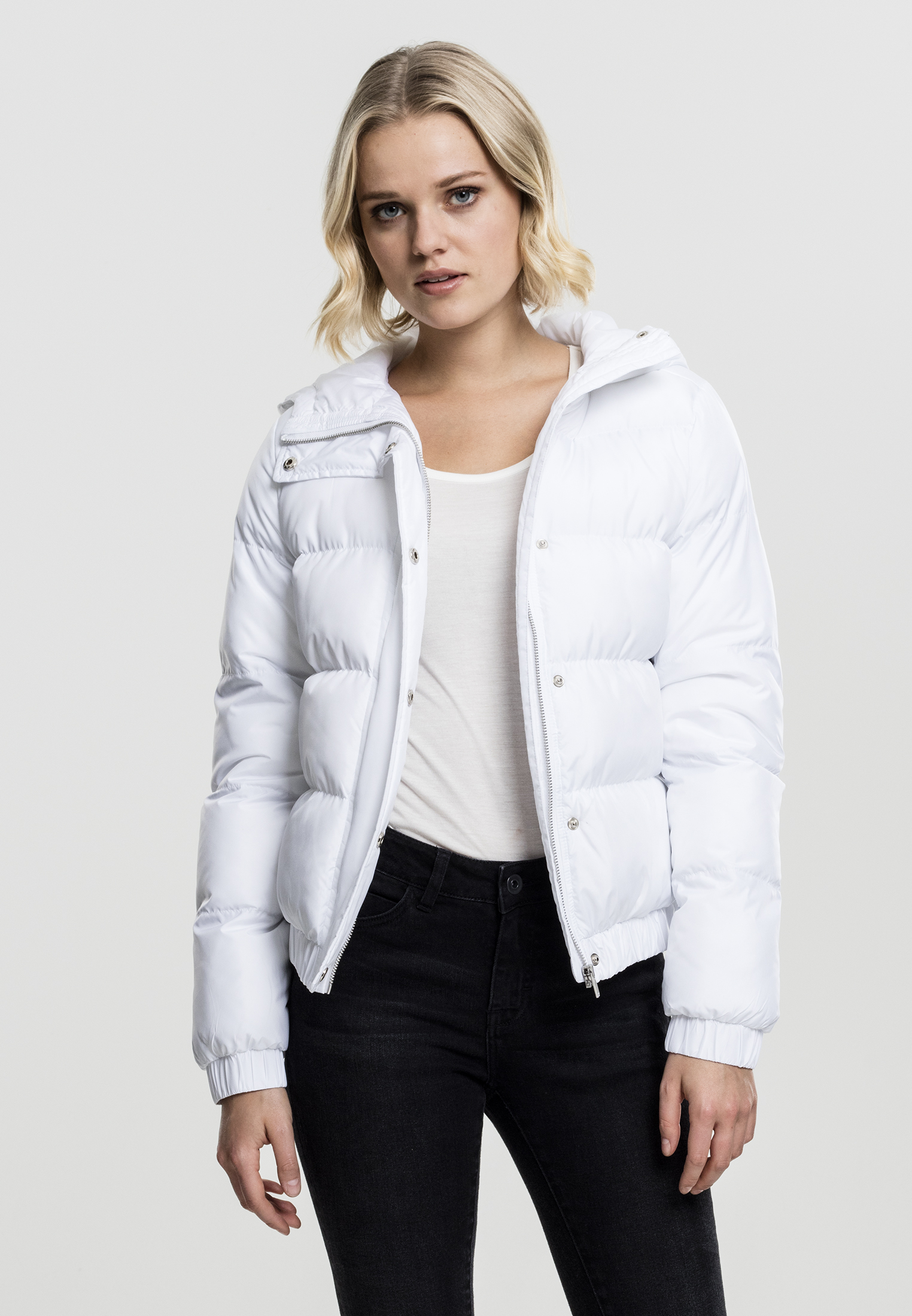 Bunda Urban Classics Hooded Puffer White M