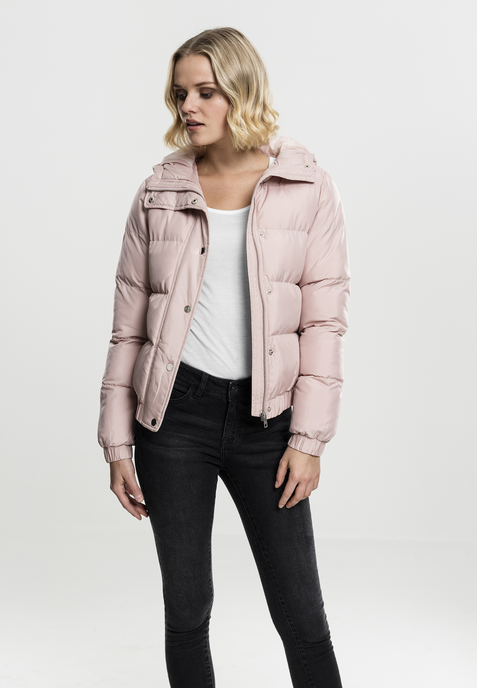 Bunda Urban Classics Hooded Puffer Lightrose L