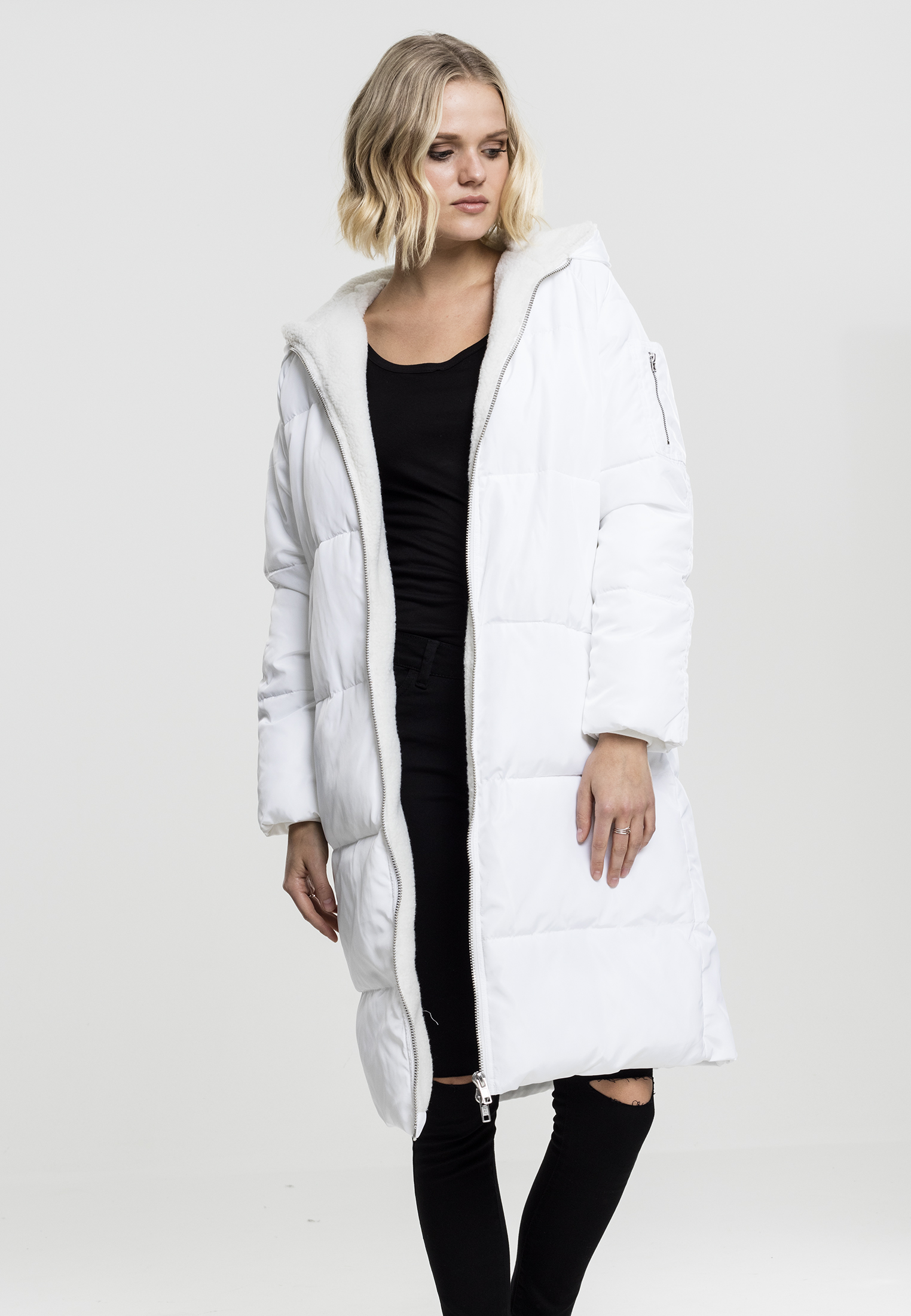 Bunda Urban Classics Oversized Hooded Puffer White Off White L