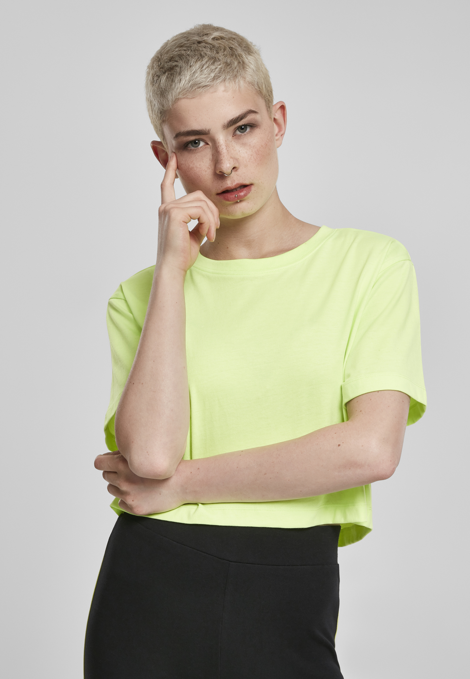 Ladies Short Oversized Neon Tee electriclime 3XL